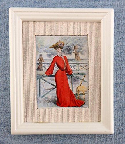 Lady-bild (Puppenhaus Miniatur Zubehör Lady in Rot Bild Gemälde weißer Rahmen)
