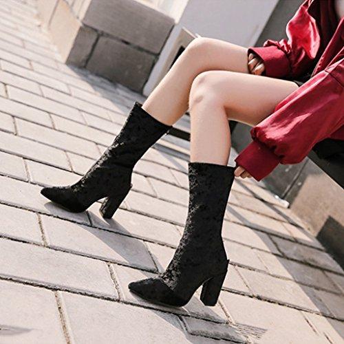 ALUK- Autunno e inverno - scarpe da donna, stivali con tacco alto con spessa punta acuminata negli stivali ( Colore : Nero , dimensioni : 37-foot length 235cm ) Nero