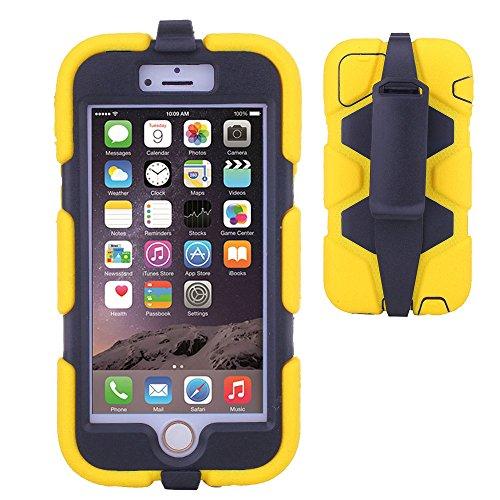 TECHGEAR® G-SHOCK Apple iPhone 6 (4.7 POUCES) Coque Solide Anti-Choc avec Protecteur d'Écran Intégré et Attache Ceinture Multi-Fonction Utilisable Comme un Stand [NOIR] JAUNE