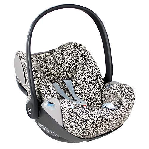 Cybex Cloud Z Bezug für Babyschale ♥ Beige Leopardenmuster ♥ Perfekte Passform ♥ Weiche Öko-Tex 100 Baumwolle ♥ Schweißabsorbierend und weich für Ihr Baby ♥