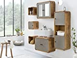 Woodkings® Badmöbel Set Dingle II Holz Pinie rustikal und Betonoptik grau Badmöbel hängend für kleines Bad mit Hochschrank Regale Waschbeckenunterschrank und Spiegelschrank