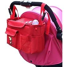 NuoYo Bocideal - Cochecito de Bolsa de Bebé Organizador, poner Buggy Cesta Botella Bolsas, Baby Carriage and Hanging Bag for the children.( Rojo/28 * 12 * 18 cm)