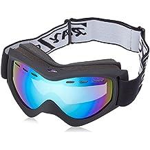 Rayzon - Gafas de esquí o snowboard (protección UV400, montura mate, doble lente antiempañamiento, antidestellos, modelo 2014), color negro, iridio azul