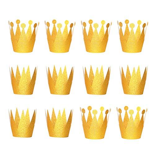 12 STÜCKE Glitter Geburtstag Krone Hüte Party Hüte Prinzessin Prince Crowns für Kinder und Erwachsene Party Dekorationen (Goldene)