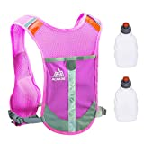 TRIWONDER Chaleco Reflectante para Correr Chaleco hidratante Paquete de Hidratación Mochila para Correr Carrera de Maratón Ciclismo (Rose Red - con 2 Botellas de Agua)