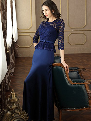 Miusol Damen Abendkleid 3/4 Arm Elegant Spitzen Kleid Brautjungfer Langes Cocktailkleid Navy Blau Gr.L - 6