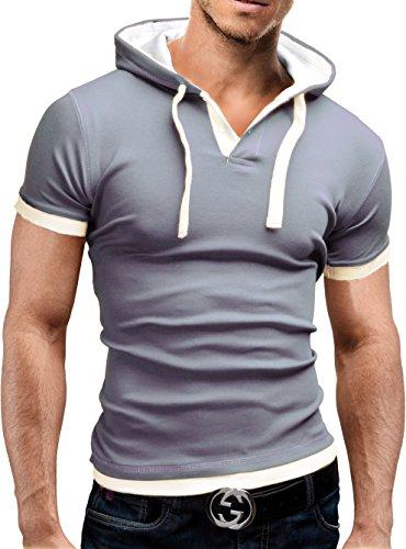 MERISH Kurzarm Hoodie T-Shirt Herren Slim Fit Modell 09 Taupe