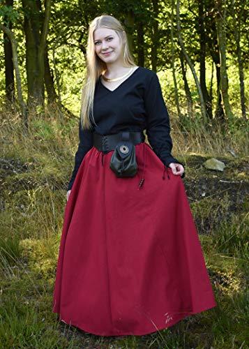 Mittelalterlicher Rock, weit ausgestellt, rot aus Baumwolle Größe S - 4