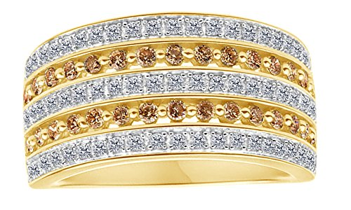 0.9carati bianco e marrone naturale diamante cinque fila fede nuziale in oro 10ct e 10 ct oro giallo, 13,5, colore: yellow, cod. mno-uk-m-cmr66568-yg-n 1/2