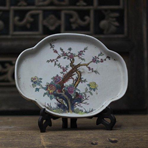 Jingdezhen Porzellan Pastell Blumen und Vögel Tee Tablett Antike Antiquitäten Antiquitäten Alte Waren Junk Ornamente Handwerk,A
