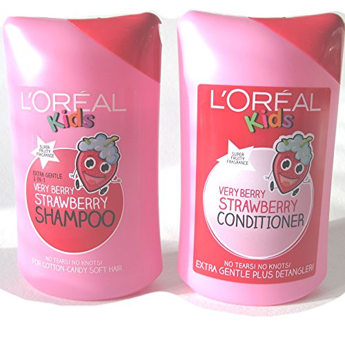 L 'Oreal Super Kids Very-Berry-Erdbeer-Shampoo, 250 ml und L 'Oreal Very-Berry-Erdbeer-Conditioner, 250 ml, für Kinder