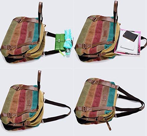 Panegy Damen Frauen Casual Tasche Mode Bunt Streifen Canvas Schultertasche Fashion Ethnischen Stil Handtasche Für Büro Freizeit Outdoor und Reisen Mehrfarbig 4