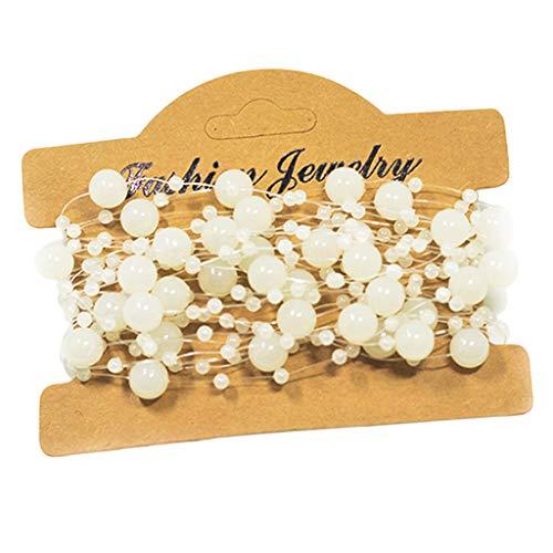Fenteer Mattierte Perlenband mit Blumen Perlenschnur Organzaband Dekoband Perlenkette Tischdeko -