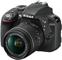 "Nikon D3300 + Nikkor Af-P 18/55VR Fotocamera Reflex Digitale, 24,2 Megapixel, LCD 3"", SD 8GB 300x Premium Lexar,  Nero [Nital Card: 4 Anni di Garanzia]"