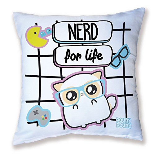 Coussin Décoration Pouny Pouny [ Nerd for life ] lunette Geek kawaii et chibi - Fabriqué en France - Licence officelle Pouny Pouny - Chamalow Shop