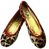 Ballerinas Nairobi aus Fell im Leo-Look Animalprint mit roter Schleife Grundton Camel Leopard (40)