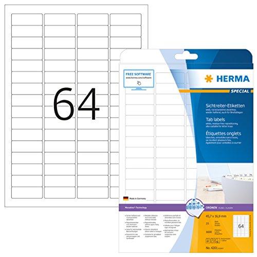 HERMA 4201 Sichtreiteretiketten ablösbar (45,7 x 16,9 mm auf DIN A4 Papier matt weiß) 1.600 Stück auf 25 Blatt, bedruckbar, selbstklebend