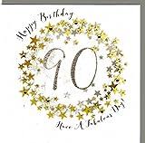 Wendy Jones-Blackett Glückwunschkarte zum runden 90. Geburtstag veredelt mit Kristallen und Glitter. Eine sehr hochwertige und originelle Geburtstagskarte, auch für Geschenkgutschein oder Geldgeschenk. WP098