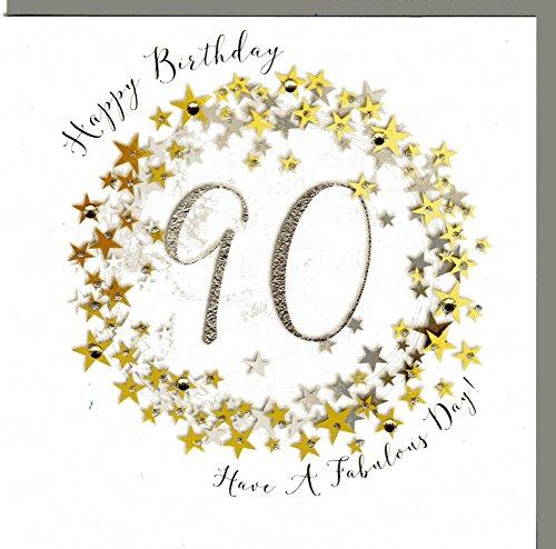 Wendy Jones-Blackett Glückwunschkarte zum runden 90. Geburtstag veredelt mit Kristallen und Glitter. Eine sehr hochwertige und originelle Geburtstagskarte. WP098