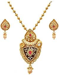 JFL - Traditional Ethnic One Gram Gold Plated Austrian Diamond Pink & Black Designer Pendant Set With Chain For...