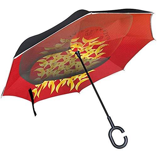 Mike-shop ombrello rovesciato a doppio strato in stile asiatico sfondo pioggia auto antivento maniglia esterna a c