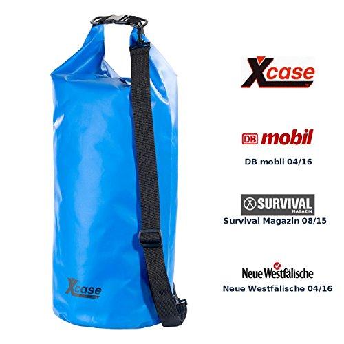 Xcase Wasserdichte Tasche: Wasserdichter Packsack 25 Liter, blau, aus strapazierfähiger LKW-Plane (Wasserdichter Schwimmsack)