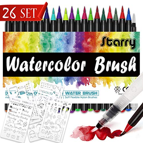 DYFFLE Brush Pen Set - [20+1Pinselstiften Aquarellpinsel+5Schablonen] Handlettering Stifte Set, Kalligraphie Set, Aquarellpinsel, Lettering Stifte Set, Manga Zeichnen Stifte für Bullet Journal Zubehör