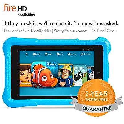 """Fire HD 6 Kids Edition, 6"""" HD Display, Wi-Fi, 16 GB, Blue Kid-Proof Case"""