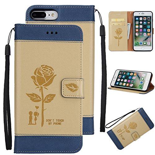 Ecoway Para iPhone 7 Plus (5,5 zoll) Funda, Amantes de Rosa(Oro) PU Leather Cubierta , Función de Soporte Billetera con Tapa para Tarjetas Soporte para Teléfono