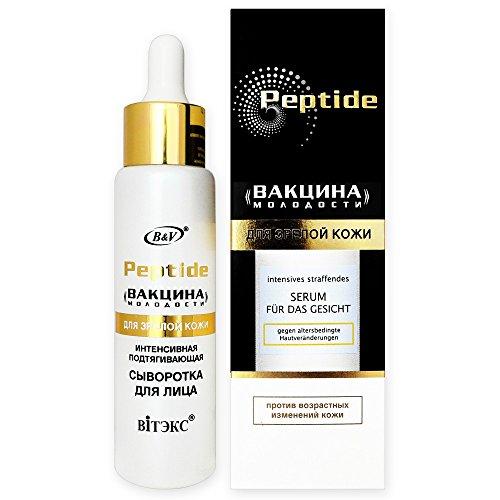 Vitex Peptide Premium Anti-Aging Siero intensivo per il viso, 50ml a base di peptidi naturali, con Matrixyl 3000 (complesso di peptidi), Fucogel, Ten's Up