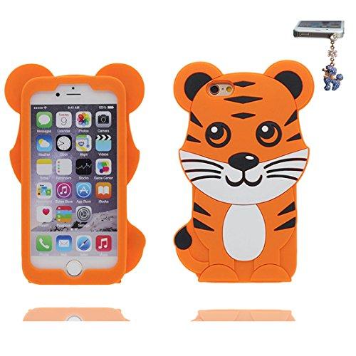 iPhone 7 Plus Custodia, morbida guarnizione TPU in gomma antigraffio protettiva Case copertura per iPhone 7 Plus 5.5 Cover + tappi antipolvere / Cartoon Progettato 3D Panda Lonely Color 3