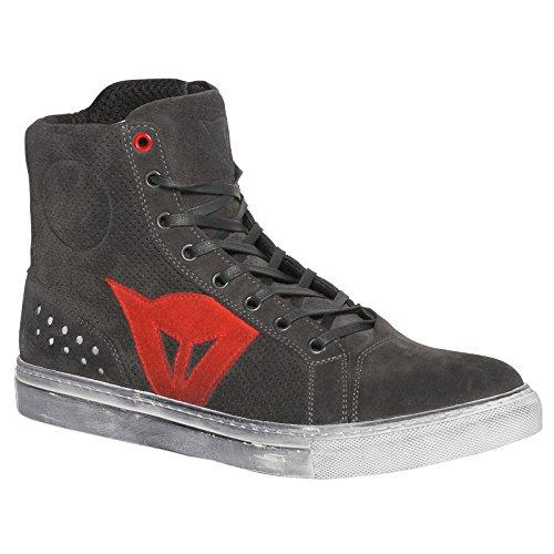 Dainese-STREET BIKER AIR Zapatos, Carbon-Dark/Rojo, Talla 46