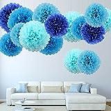 15er PomPoms Tissue PomPon Papierblume handgefertigt Hochzeit Partei Feier Dekoration 25cm & 35cm Blau