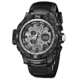 Yanhoo Unisex LED Armbanduhren Mode Exquisit Multi-Function 50M Waterproof Outdoor Sportuh LED Digital Double Action Luminous Watch (Schwarz)