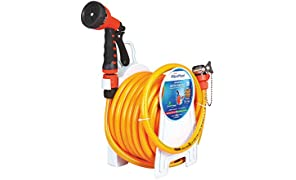 Household Water Hose Reel for Cleaning Supplies - Fixed Type 15mtr ISI Marked Hose (with Tap Adapter with Easy to use Butterfly Clamp & Bead Chain to Tighten) | AquaHose
