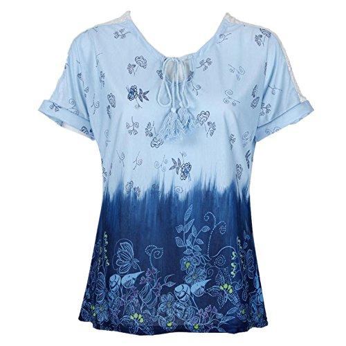 OverDose Damen Blumen Spitze Tops Frauen Kurzarm V-Ausschnitt Spitze Gedruckte Lose T-Shirt Bluse Oberteile Tees Shirt(X-d-blau2,5XL)