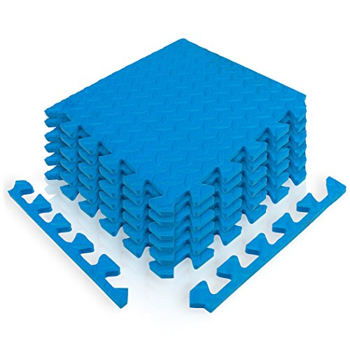 diMio 30x30cm Sport-Schutzmatten Set - 12 Puzzlematten inkl. Randstücke ergibt ca. 1.1qm Schutzmatte / Unterlegmatte / Fitnessmatte / Bodenschutz Matte [30x30cm, blau]