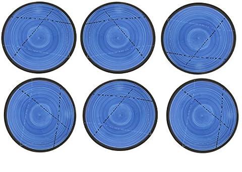 Set 6PCS Keramik Essgeschirr, handgefertigt Runder Teller Anrichten von Dessert, Salat oder Küche–Blau 21,8cm (Essgeschirr Platter)