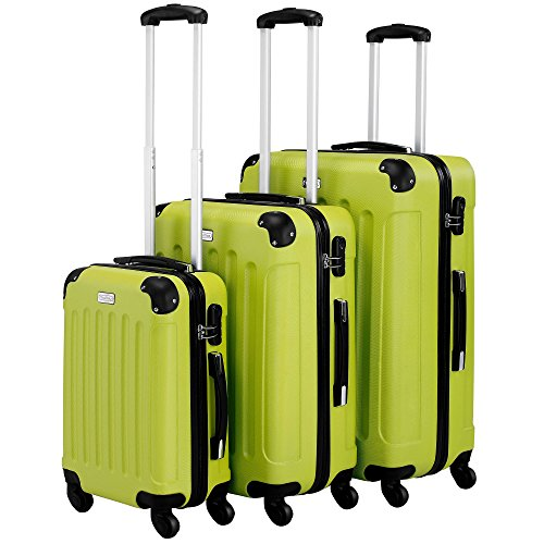 VonHaus 3pc Hard Shell ABS Trolley Suitcase Luggage Set with 4 Rotating Wheels, Combination Lock & Telescopic Handle – Green