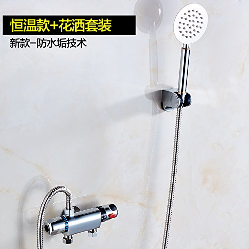 Küche oder Badezimmer Waschbecken Mischbatterie Erz thermostatische Wasser Solar Warmwasser Mischventil Thermostatventil tippen, dass die Temperatur des Steuerventils Wasserhähne mit Wasser beheizt quadratischen Kopf Booster Pack, Nicht mit Wasser -