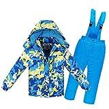 LPATTERN Kinder Jungen/Mädchen Skifahren 2 Teilig Schneeanzug Skianzug(Skijacke+ Skihose mit unabnehmbarem Träger), Blau-Gelb, Gr. 104/110(Herstellergröße: 4A/110cm)