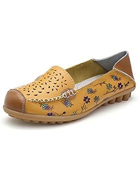 Z.SUO Damen Leder Casual Loafers Flatschuhe Low-top Schuhe Erbsenschuhe Fahren Halbschuhe Slippers