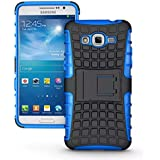 Caja de pata de cabra para Samsung Galaxy Gran Prime - SODIAL(R) Cubierta caja protectora defensor de armadura de dual capa hibrida con pata de cabra para Samsung Galaxy Grand Prime, Azul