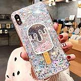 JAWSEU Funda Brillante Brillo Compatible con iPhone X/XS, Glitter Liquida Cristal Silicona Suave TPU Gel Goma Bumper Funda con 3D Bling Diseño Ultra Delgada Anti-Rasguño Protectora Carcasa,Blanco