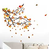 #7: Decals Design 'Autumn Leaves and Birds' Wall Sticker (PVC Vinyl, 50 cm x 70 cm)