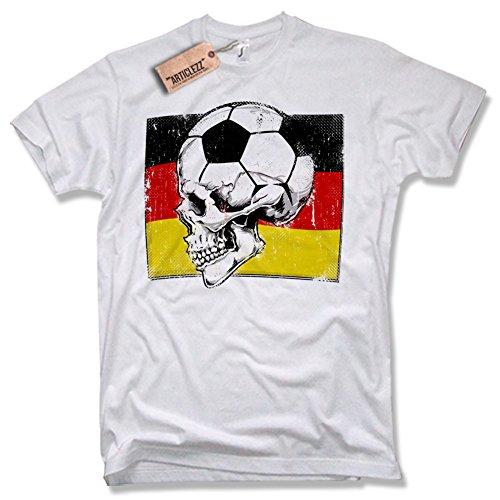 DEUTSCHLAND FUSSBALL T-Shirt, Skull, S-XXL weiß / white