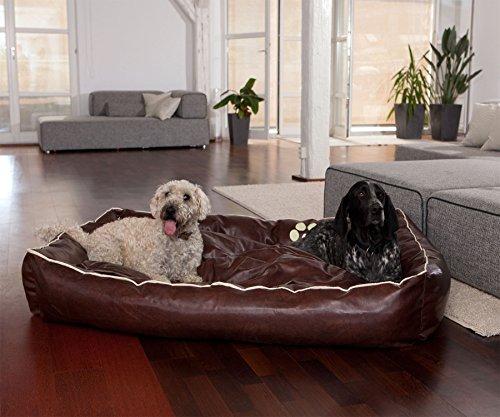 Smoothy Hundekorb aus Leder; Hunde-Körbchen; Hundebett für Luxus Vierbeiner; Braun Größe XXL (145x100cm) - 3