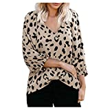 MOTOCO Damen T-Shirt Tops Damen V-Ausschnitt Leopardenmuster Off-Shoulder Langarm Tank Top Bluse(M,Khaki)