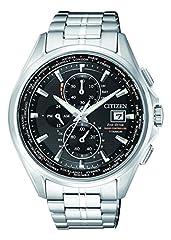 Idea Regalo - Orologio Uomo Quarzo Citizen display Cronografo cinturino Titanio Argento e quadrante Nero AT8130-56E
