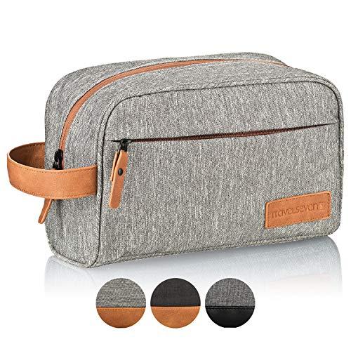 TRAVELSEVEN Premium Kulturtasche XL, Sehr geräumig, Mehrere Innentaschen, Für Damen und Herren, Robust, Wasserabweisend (Hellgrau)